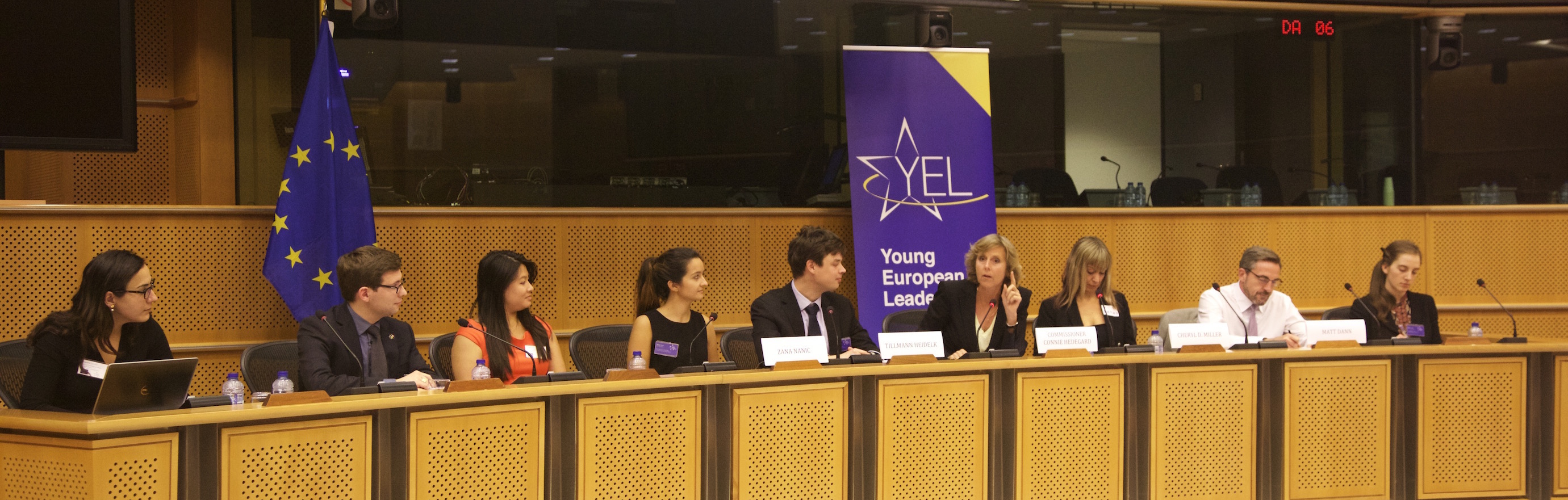 Young European Council YEC closing ceremony 2014 Stephanie Antonian Pierre Manenti Nadia Tjahja Zana Nanic Tillmann Heidelk Connie Hedegaard EU Commission Cheryl Miller Digital Leadership institute Matt Dann Bruegel Diana Carter